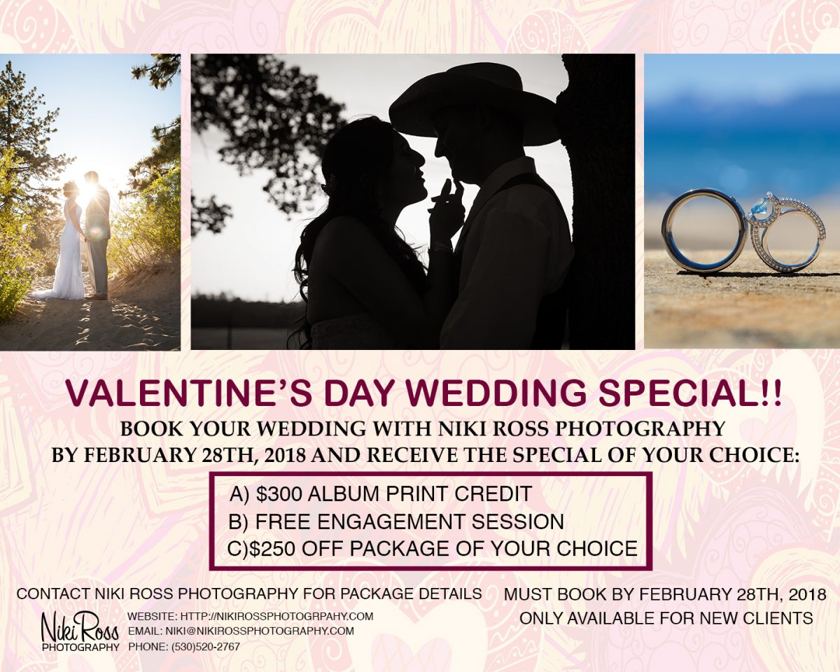 Valentine's Day Photography Special - Lake Tahoe - Reno - Northern California